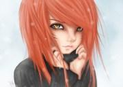 wallpaper face redhead long