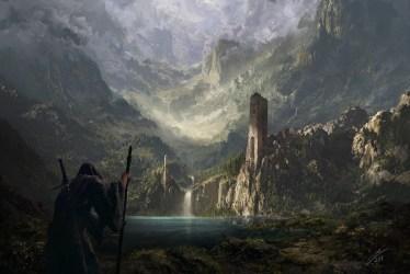fantasy castle ruin mountains wanderer fortress lands hd artwork wallpapers wallhere pond desktop concept