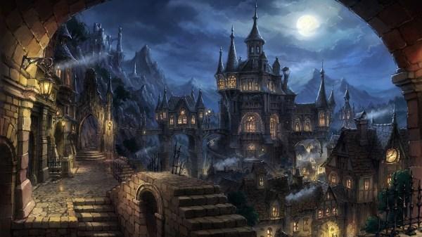 Wallpaper Fantasy Art Cityscape Night City