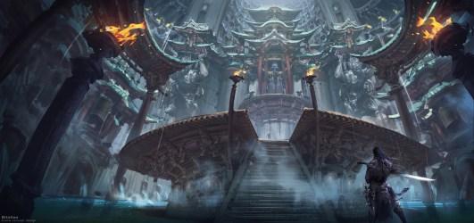 fantasy temple fire sword mist hd desktop background wallpapers wallhere artwork artstation px