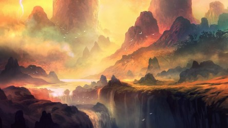 fantasy landscape mountain forest river mountains colorful waterfall artwork nature water sunlight hd wallpapers digital trees desktop storm backgrounds painting