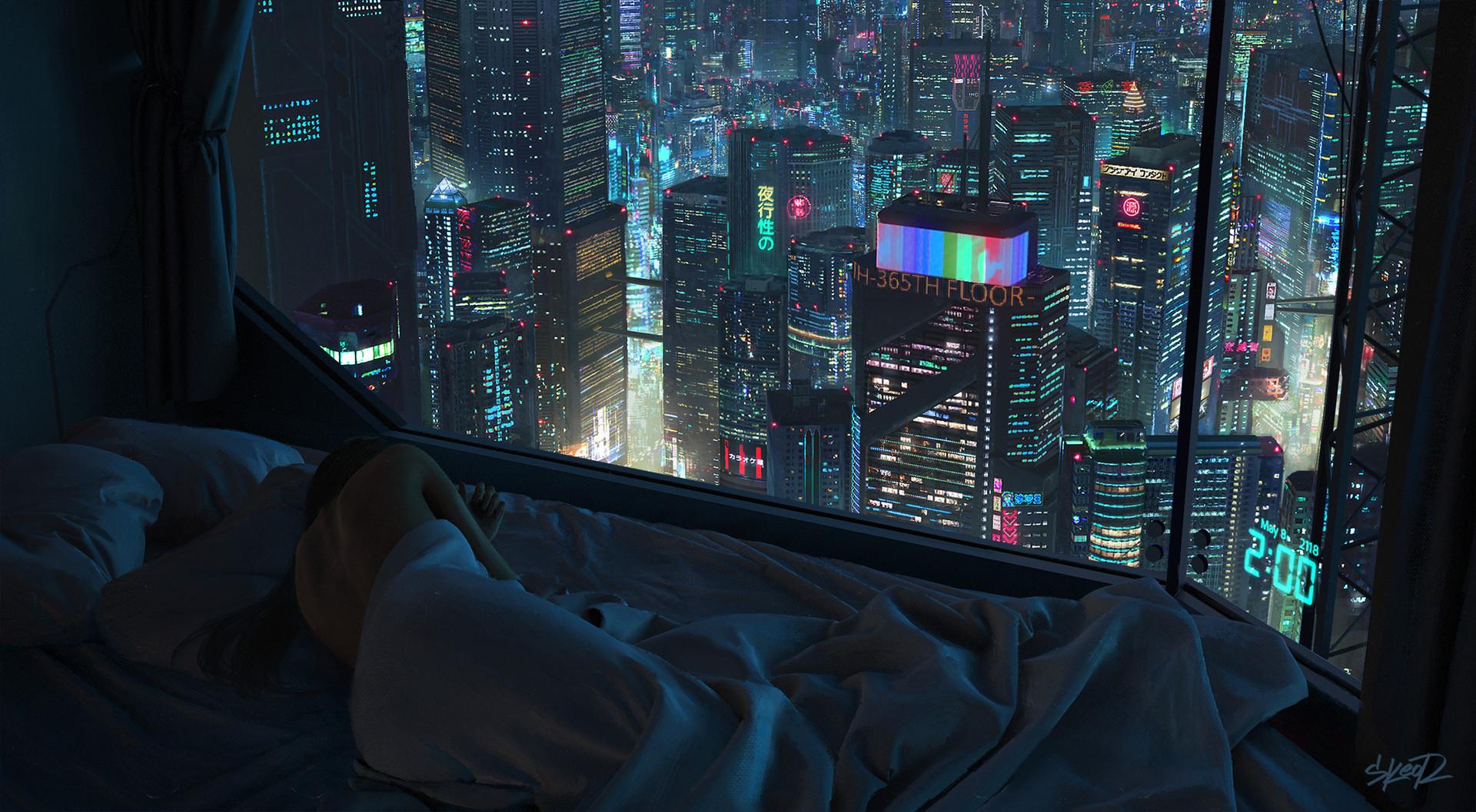 Futurist Anime Girl Wallpaper Wallpaper Futuristic Cityscape Women Back Tony Skeor