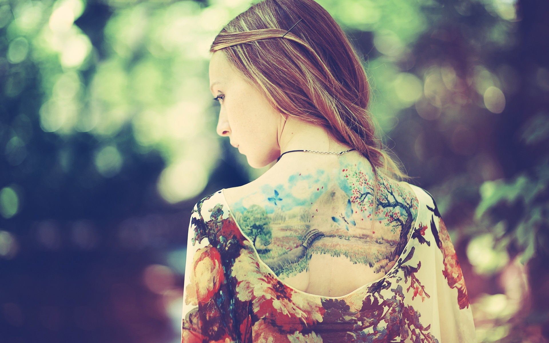 Fondos De Pantalla Niña Espalda Vestir Tatuajes Naturaleza
