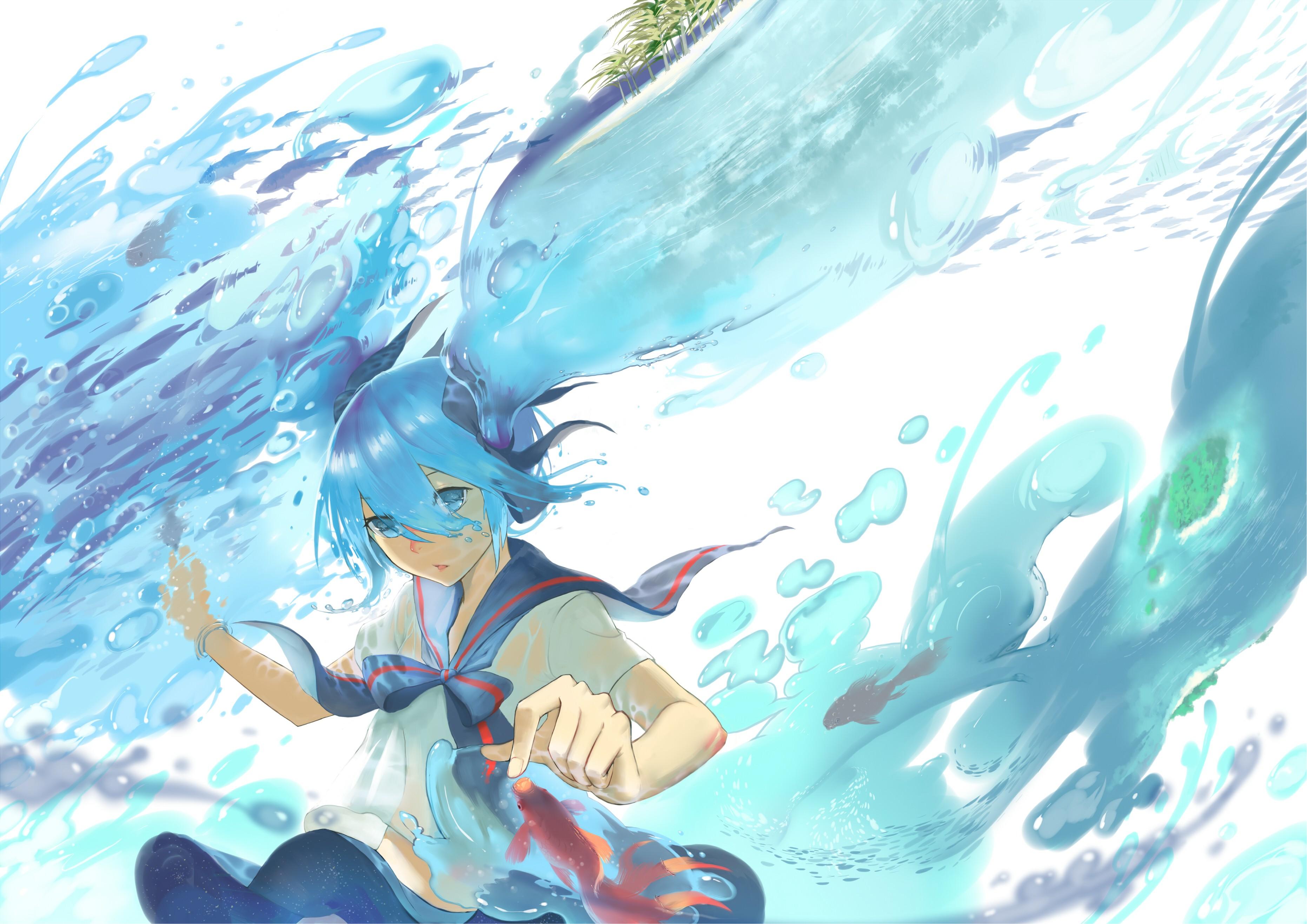 wallpaper illustration anime water