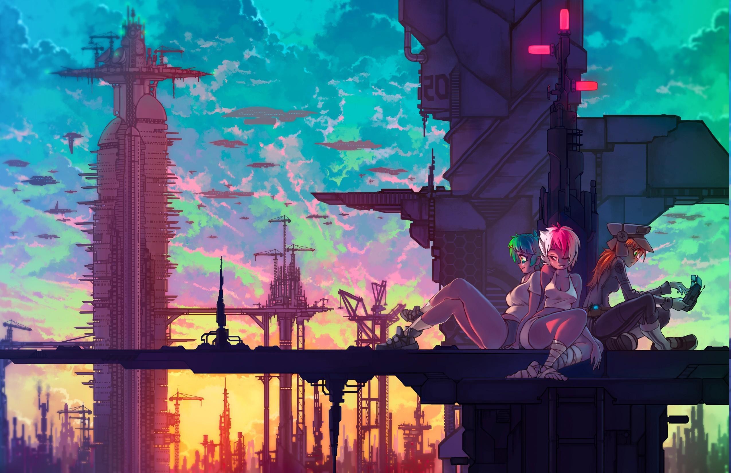Futurist Anime Girl Wallpaper Wallpaper Illustration Fantasy Art Anime Girls Sky