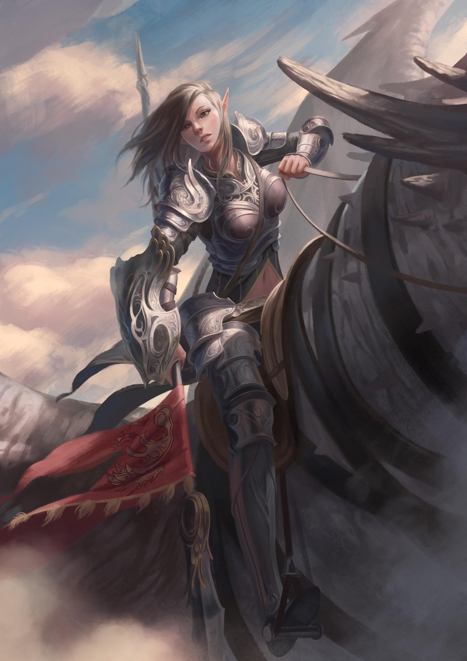 Horse Riding Wallpaper Hd Wallpaper Illustration Fantasy Art Anime Dragon