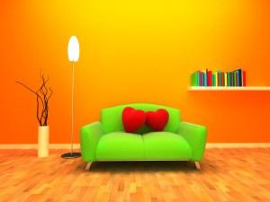 background orange living yellow 3d sofa furniture modern graphics heart circle illustration font wallpapers