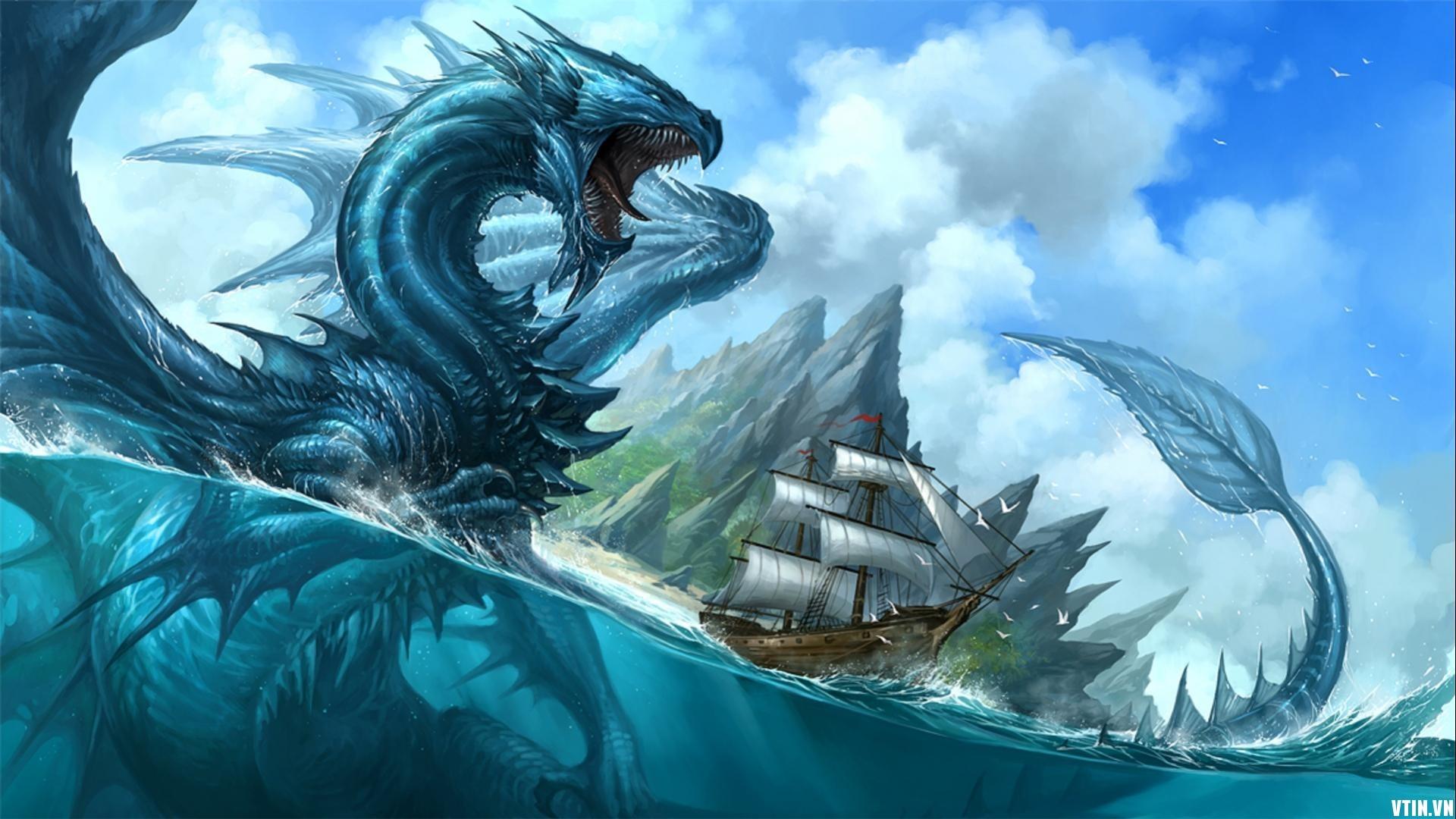 wallpaper illustration mountains ship