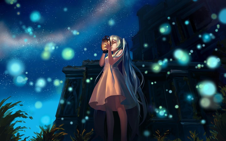 3d Graphic Wallpaper 1280x1024 デスクトップ壁紙 図 アニメの女の子 星 ランタン ボーカロイド 初音ミク 真夜中 ステージ 闇