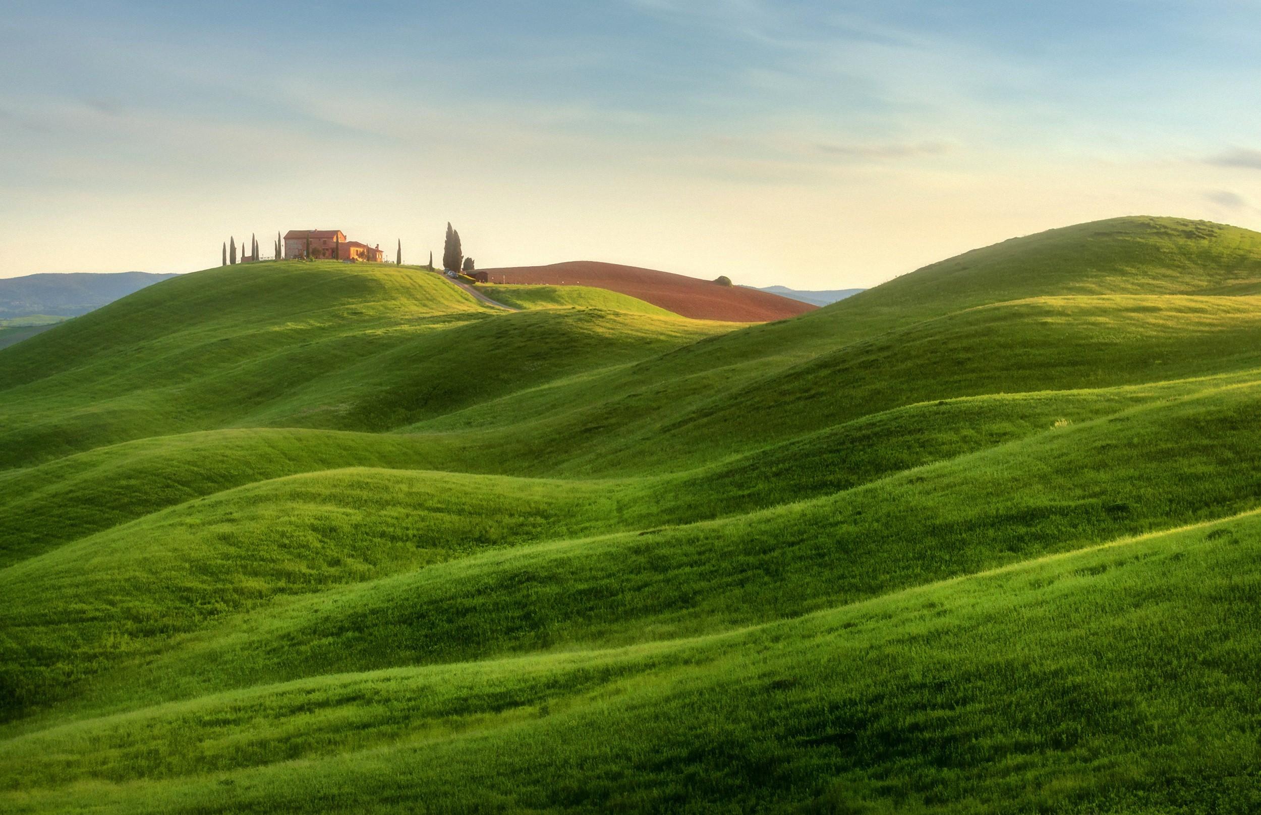 Sfondi  paesaggio Italia collina natura erba campo verde Toscana altopiano corso di golf montagna prateria pascolo prato pianura