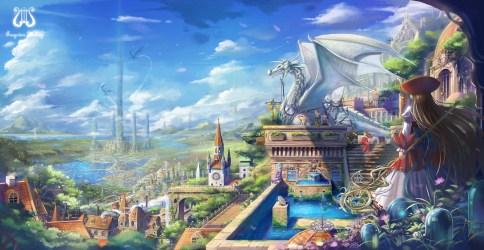 anime fantasy sky village landscape dragon park clock fountain amusement tower clouds mythology wallpapers hd screenshot wallhere