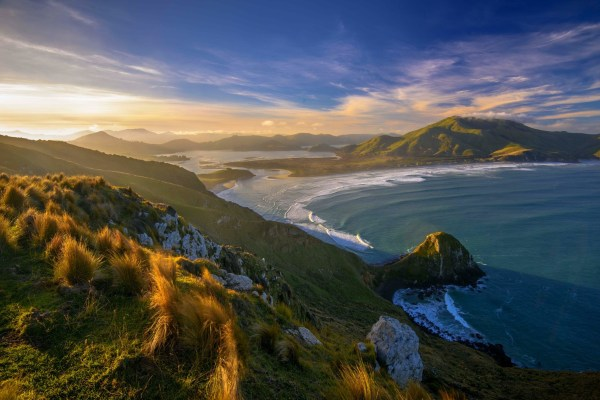 Wallpaper Landscape Mountains Sunset Sea Bay Hill Nature Shore Reflection Grass Sky
