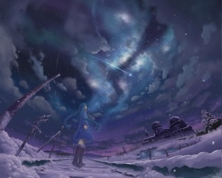 Wallpaper : landscape night anime girls nature sky snow winter Earth moonlight wind Arctic universe Aurora shooting stars Freezing midnight cloud tree darkness screenshot computer wallpaper atmosphere of earth special effects outer