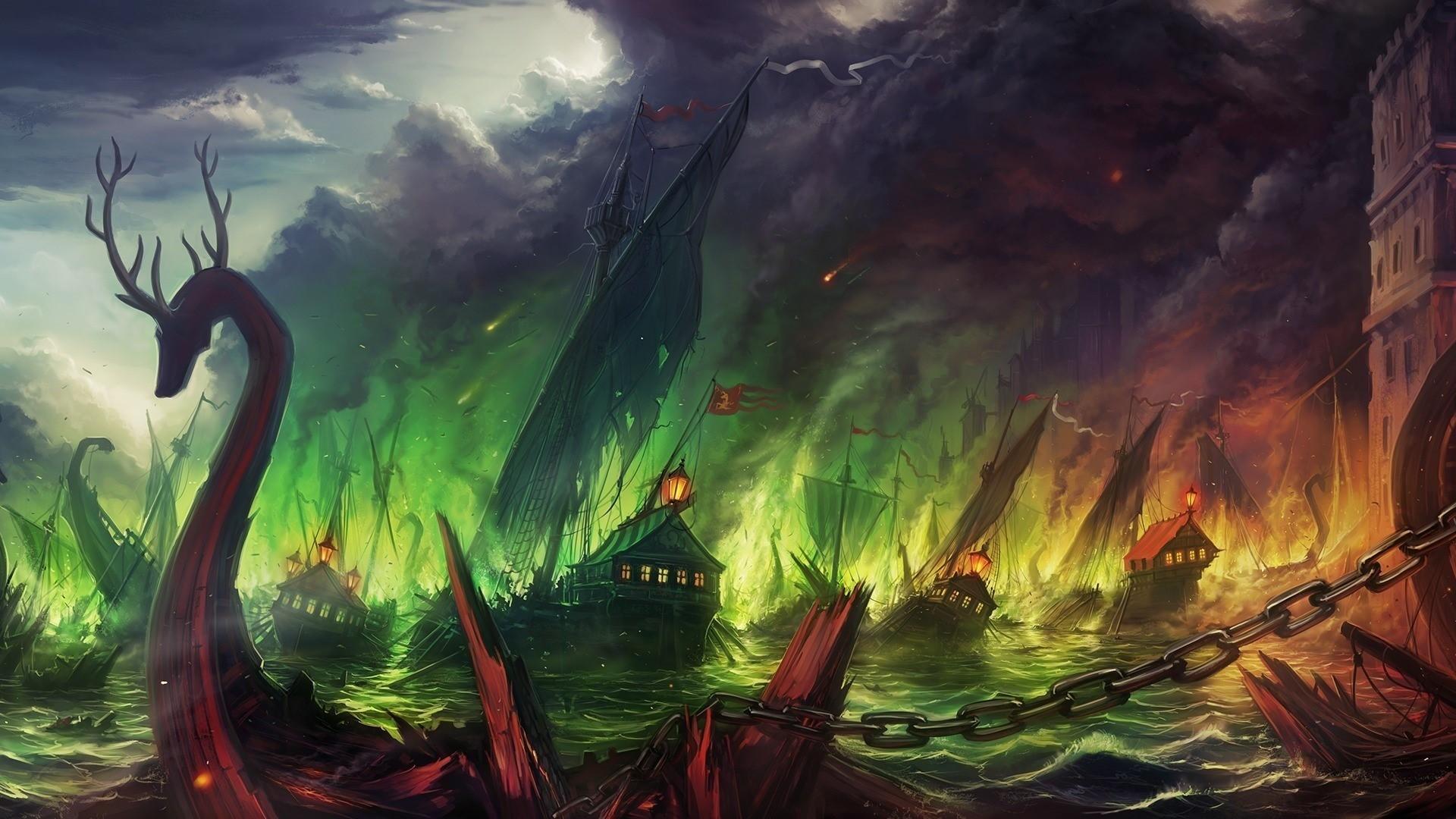 wallpaper : landscape, painting, digital art, sky, dragon, fan art