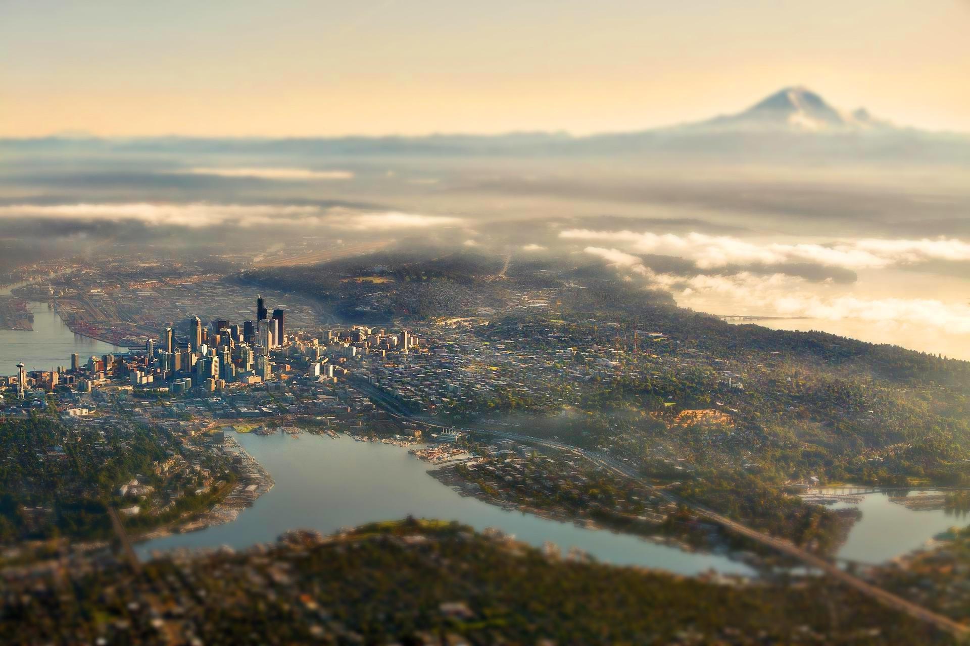 Seattle Washington Fall Skyline Wallpaper Wallpaper Landscape Sea City Cityscape Lake Water