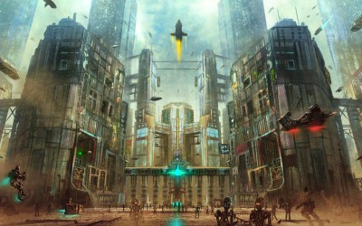 building cyberpunk futuristic fantasy digital street gothic robot metropolis skyscraper place spaceship urban fiction ancient architecture wall poster cityscape cathedral