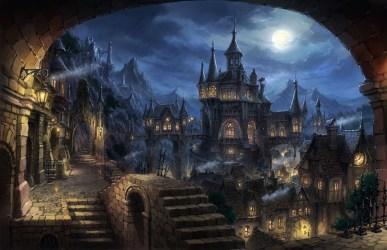 Wallpaper : mountains city cityscape night anime sky