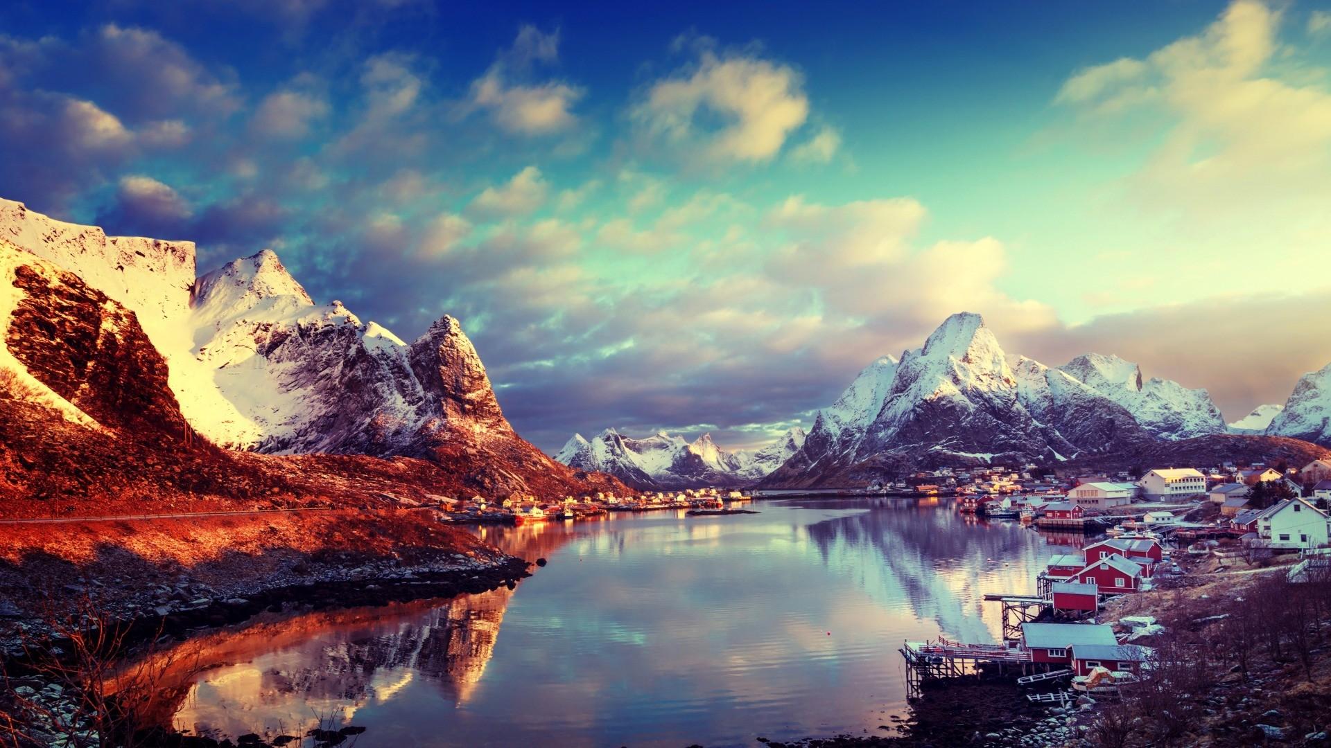 Hintergrundbilder  Natur Landschaft Wolken Berge See Lofoten Norwegen Schneebedeckten