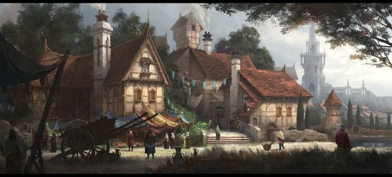fantasy medieval village villages artwork town ages middle painting wallpapers tree sky computer architecture artstation building hd background arts px