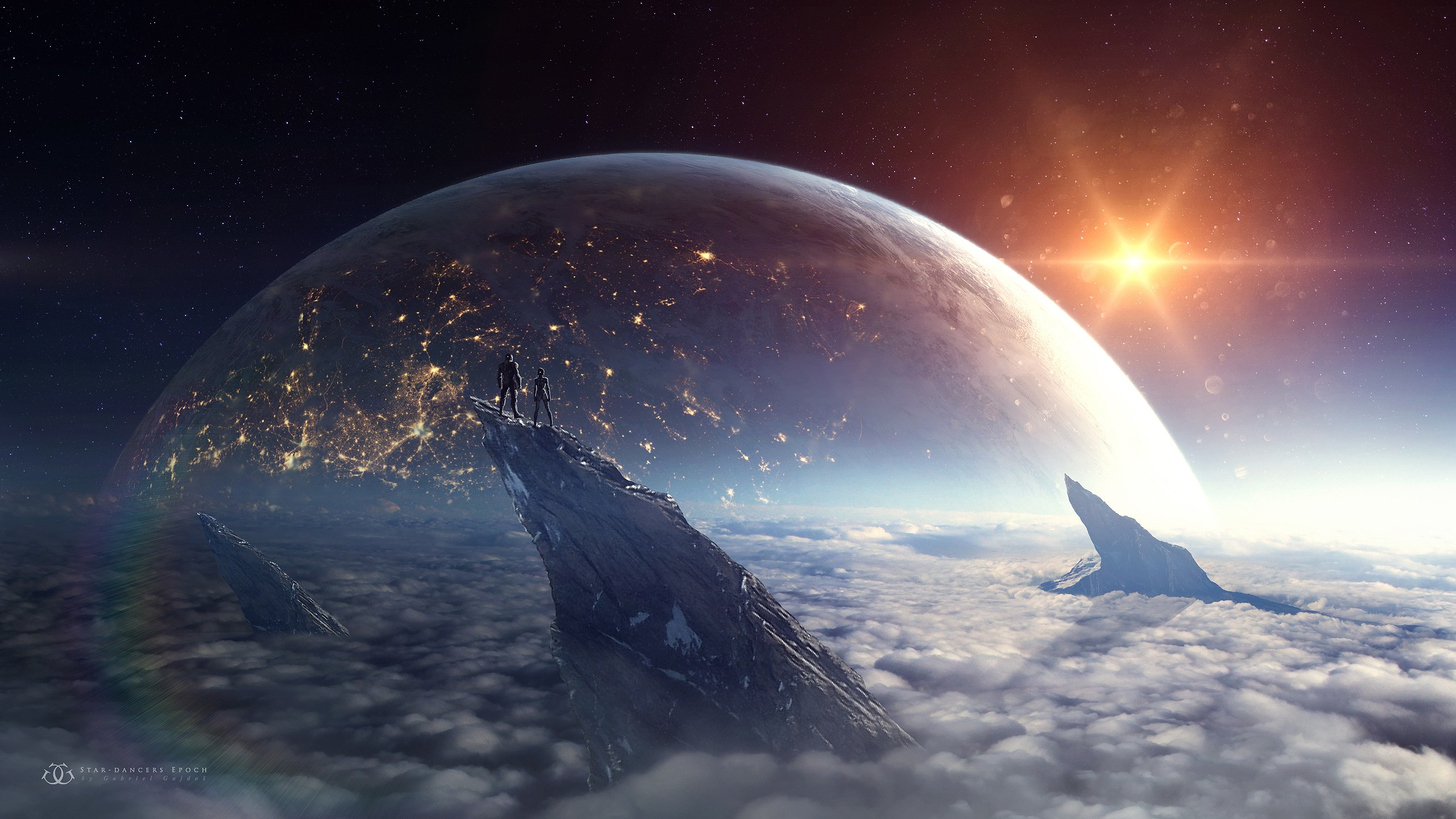 Wallpaper Planet Clouds Earth Science Fiction Couple