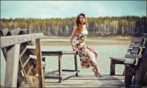 Barefoot in Dress Portrait
