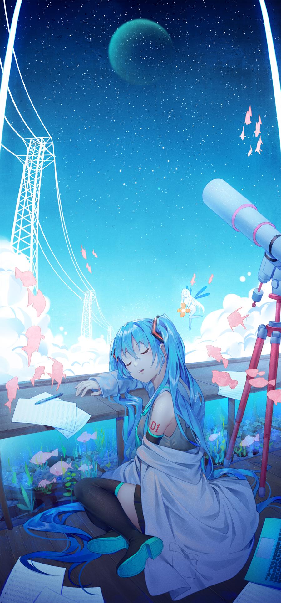 Wallpaper Sedang Tidur Hatsune Miku Gadis Anime 900x1926 Editjoy 1813997 Hd Wallpapers Wallhere