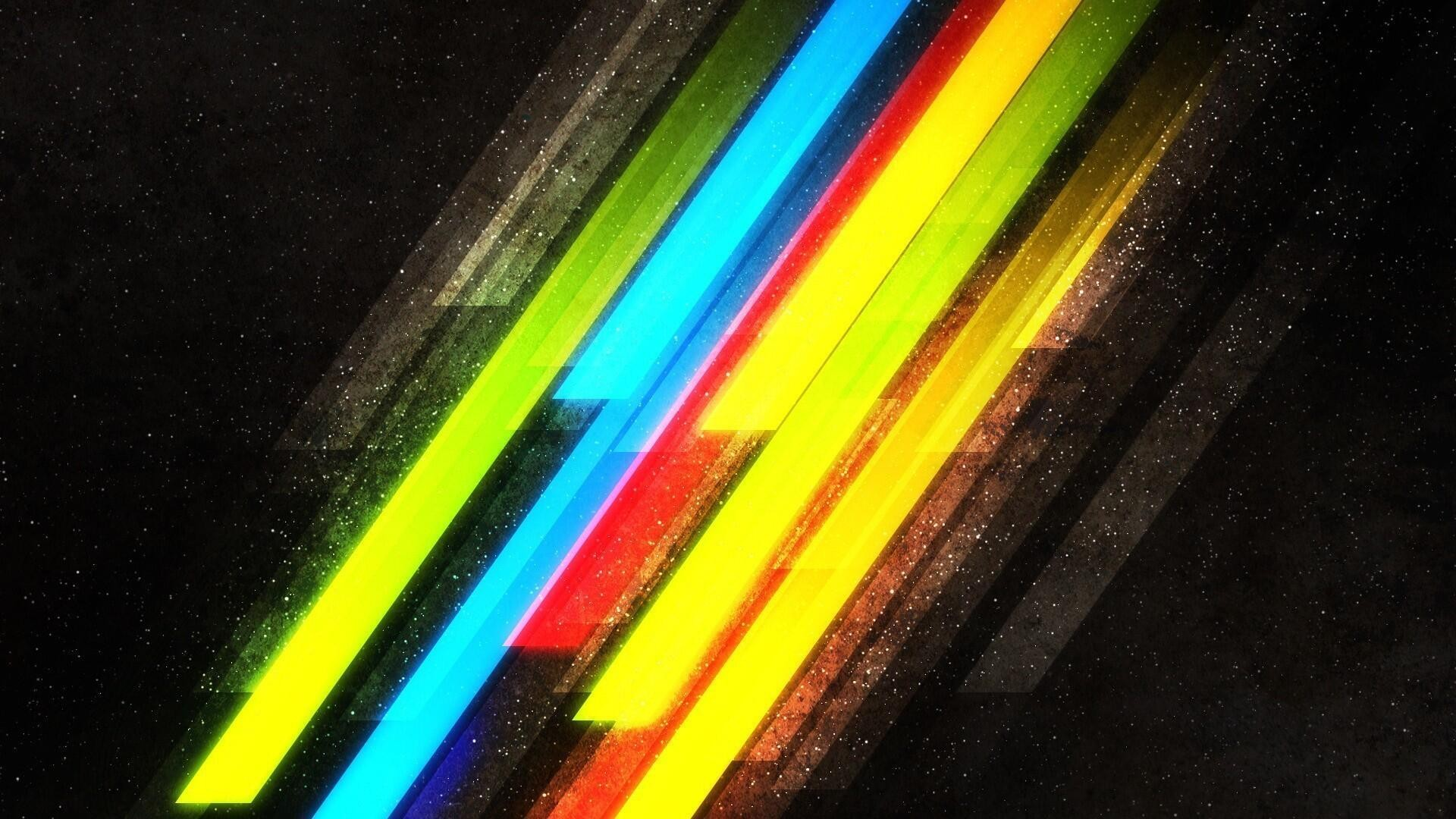 Wallpaper Sunlight Black Abstract Red Green Yellow