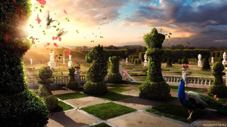 fantasy garden courtyard digital palace chess flower plants mansion estate birds sunlight hedges wallhere peacocks hd