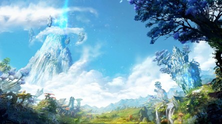 aion fantasy landscape forest sky jungle tree atmospheric background hd backgrounds computer wallpapers login phenomenon sunlight screenshot screen wallhere