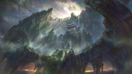 fantasy mountains wallpapers asian anime computer pagoda digital jungle desktop architecture waterfall mystical artwork hd rock castle atmospheric birds sunlight