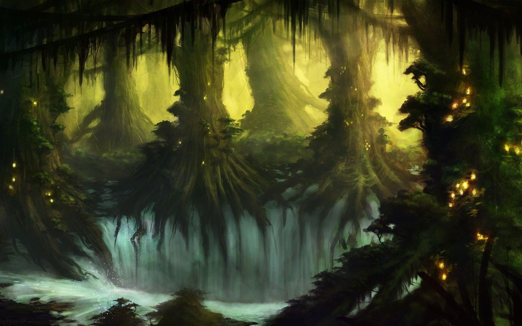 Mystical Creatures In The Fall Wallpaper Wallpaper Sunlight Trees Forest Fall Waterfall