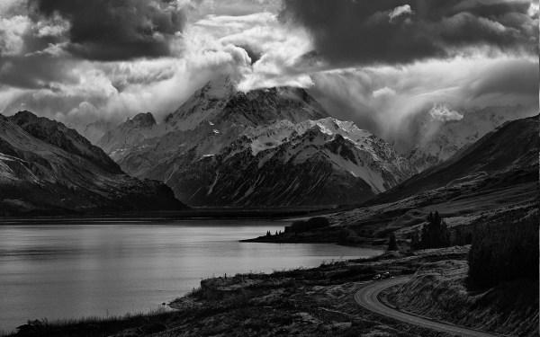 Black and White Mountain Lake Landscape
