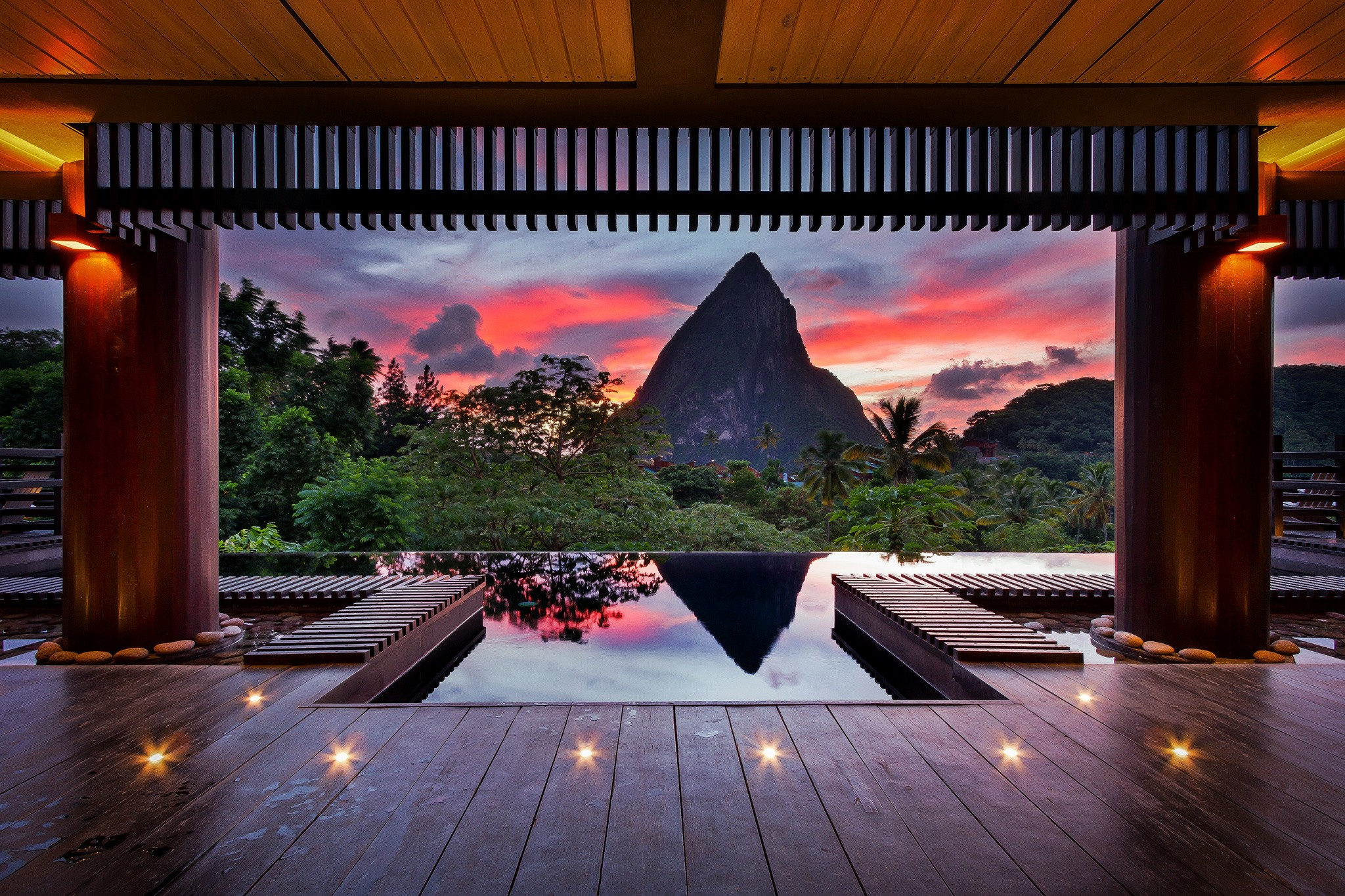 wallpaper sunset architecture hotel