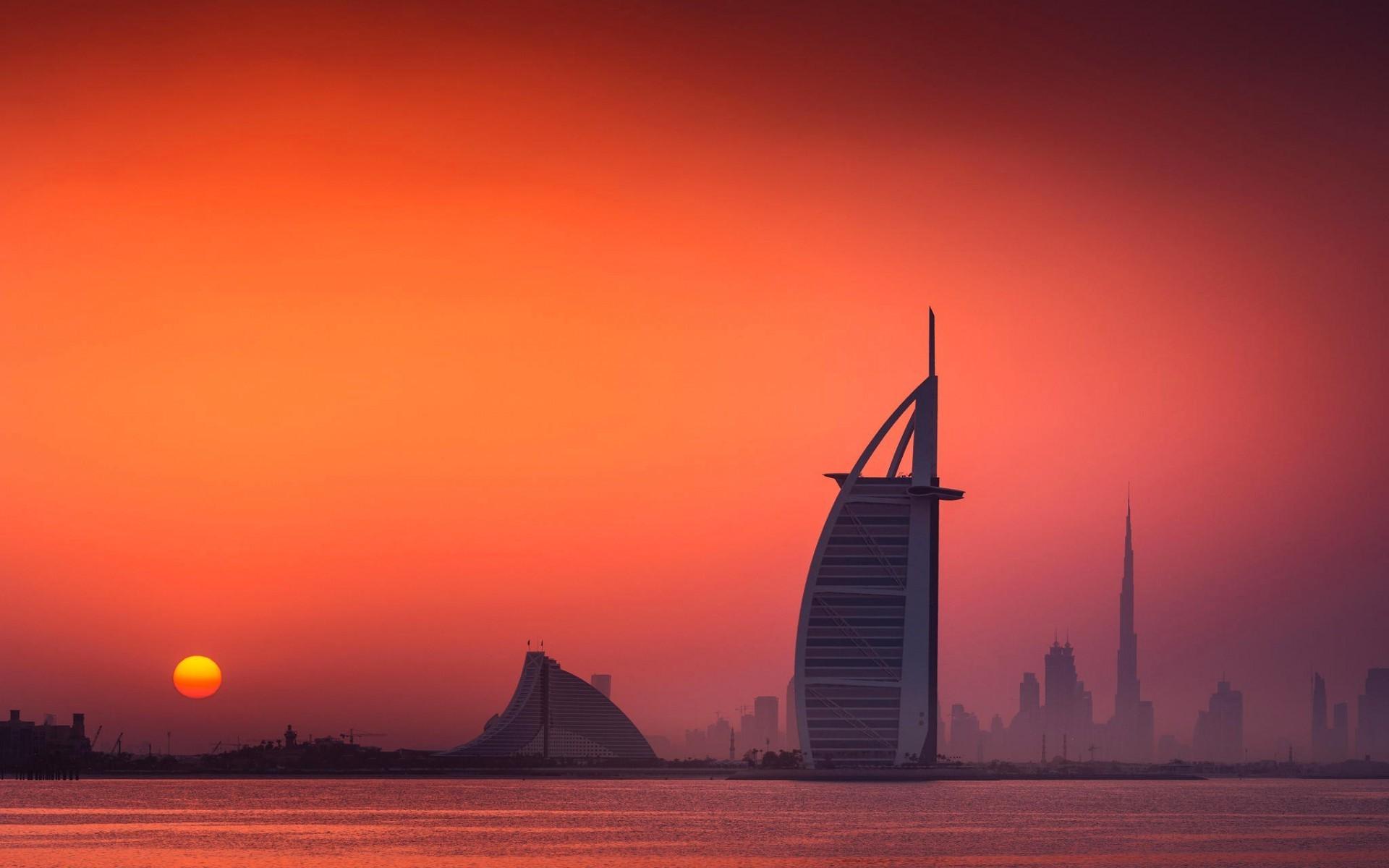 Emirates Wallpaper Hd Wallpaper Sunset Sea Cityscape Sunrise Evening