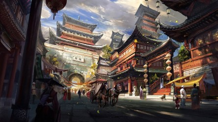 fantasy asian ancient chinese street night town temple road artwork urban architecture place history human travel settlement cityscape metropolis landmark
