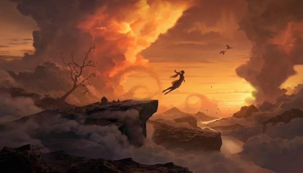 Wallpaper Trees Digital Art Birds Women Sunset Sky Jumping Clouds Sunrise Evening