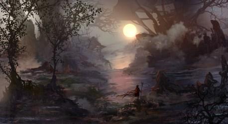 fantasy swamp nature mist loneliness wind warrior sun forest hero trees artwork ruins wallpapers deviantart desktop background morning wanderer foggy