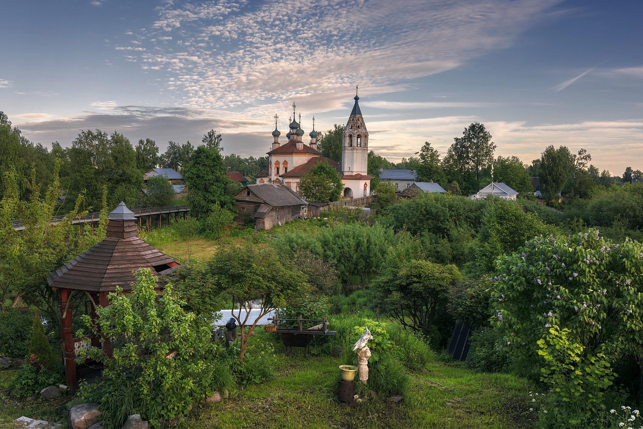 wallpaper village church russia