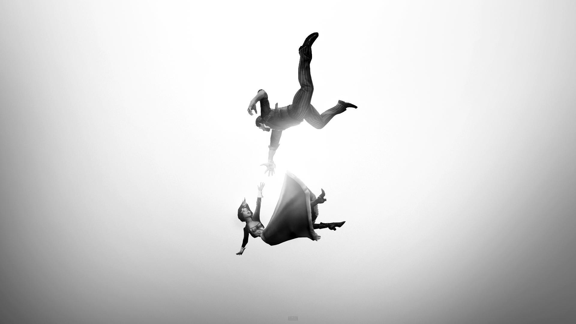 Bioshock Infinite Falling Wallpaper Hd Wallpaper Video Games Jumping Silhouette Falling