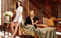 Wallpaper Women Blonde Black Dress Blue Eyes