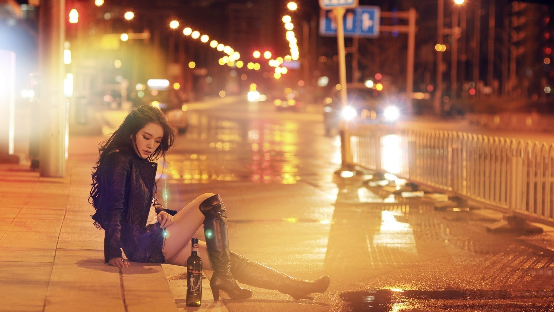 Sad Girl Standing Alone Wallpapers Wallpaper Women Outdoors City Street Night Bottles