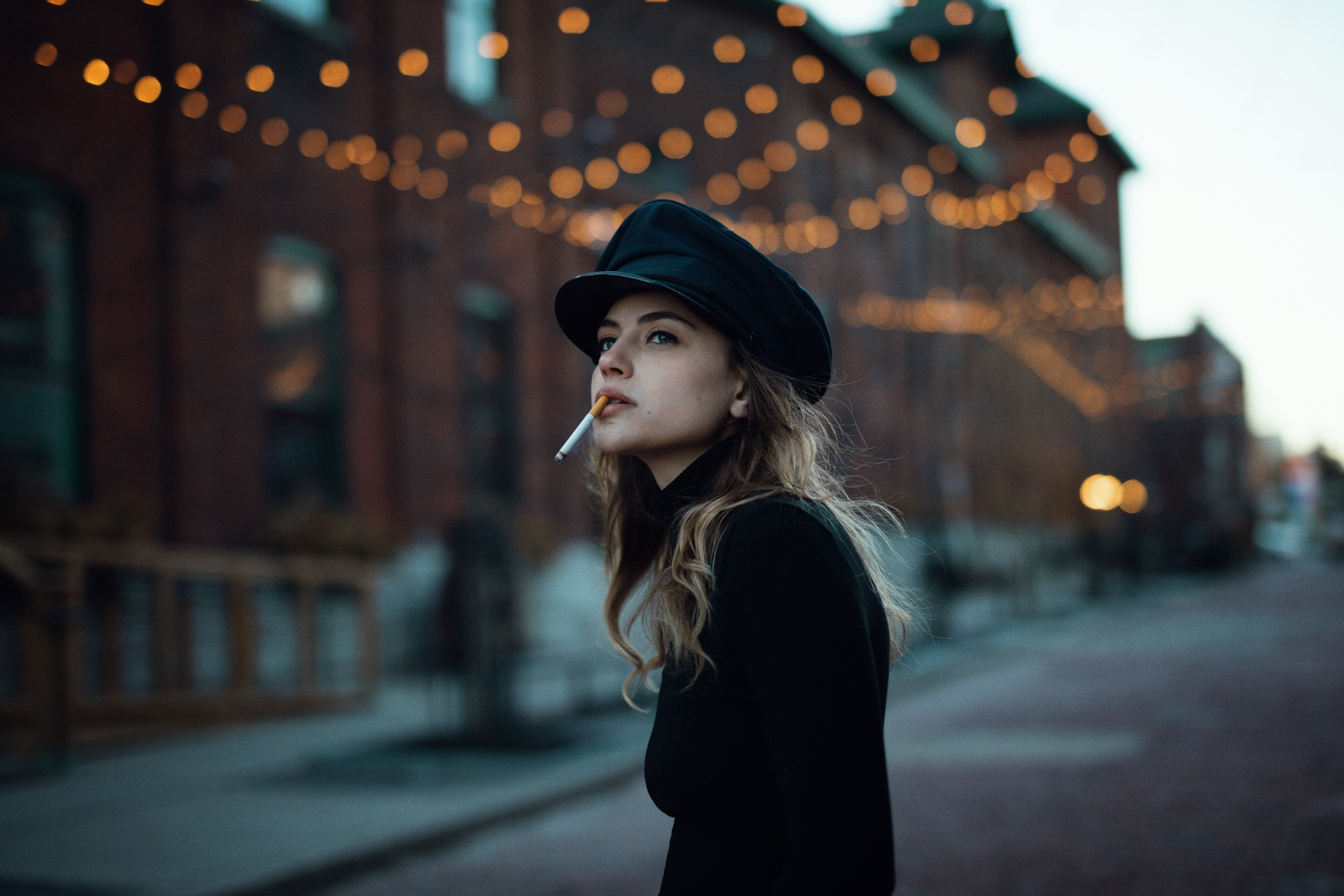 Beautiful Girl With Hat Wallpaper Wallpaper Women Outdoors Model Street Looking Away