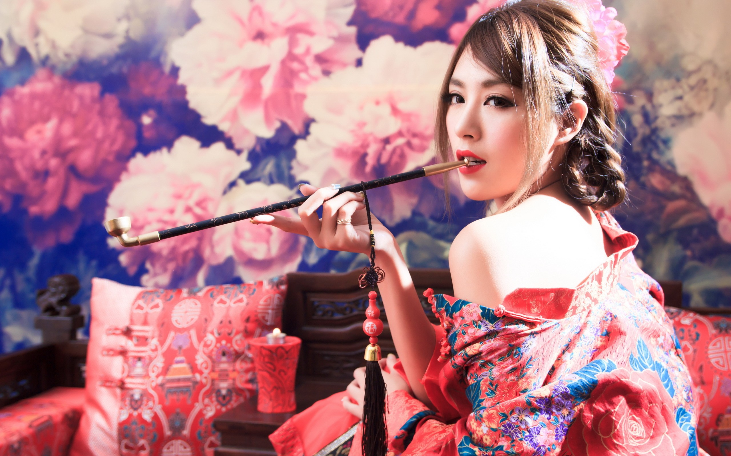 Kimono Anime Girl Android Wallpaper Wallpaper Women Red Asian Smoking Singing Opium