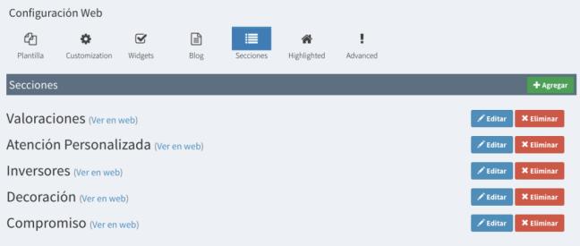 Configuración de las secciones web
