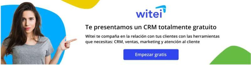 Witei es un CRM gratuito con herramientas de ventas, marketing y atención al cliente
