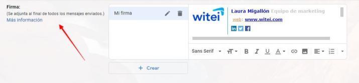 cómo se crea una firma de correo en Gmail paso 2