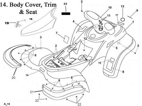 Body Covers Fenders, Seat Fits Eton Lightning 50cc, AXL50