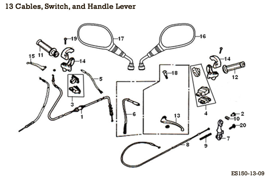 Throttle Brake Cable Switch Lever Mirrors E-Ton(Eton)Sport