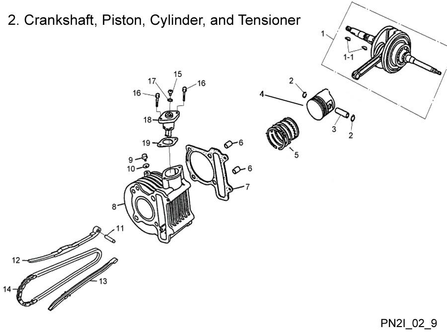 Crankshaft,Cylinder Piston Kit Rings Gasket Cam Chain E