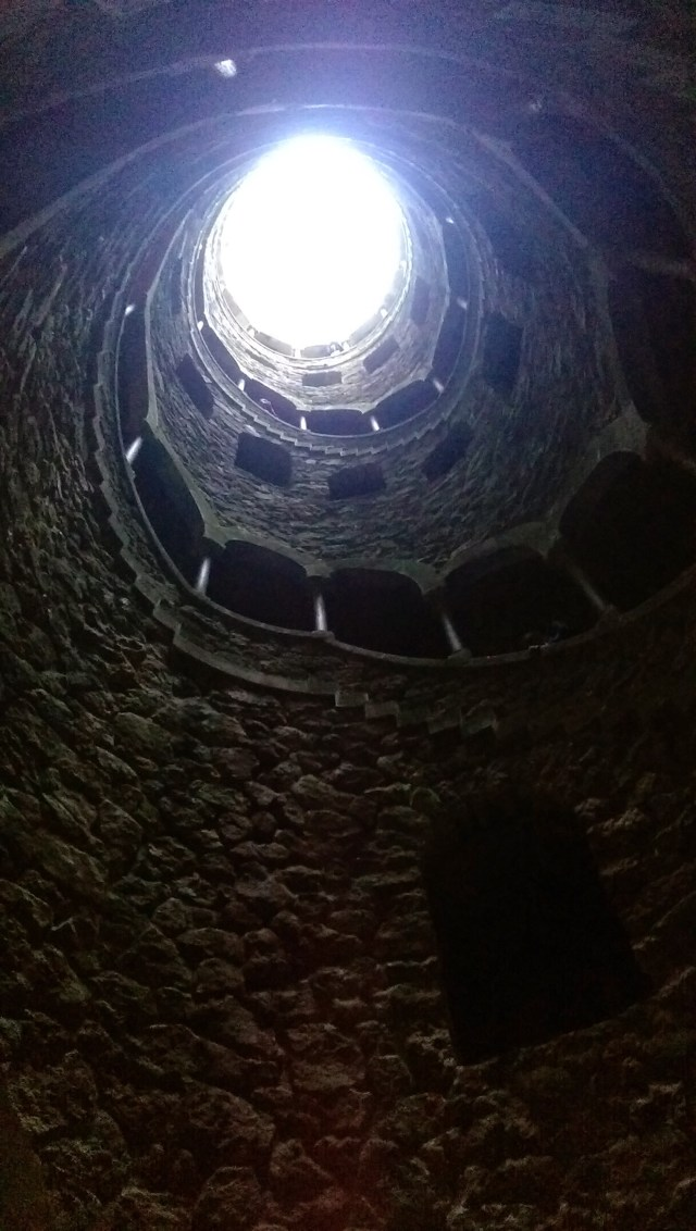 Looking upward from the bottom of an Initiation Well in Sintra, Portugal. http://en.wikipedia.org/wiki/Quinta_da_Regaleira#Initiation_Wells